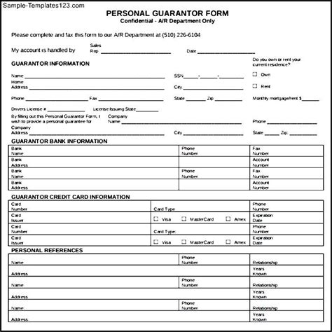 downloadable personal guarantee form sle templates