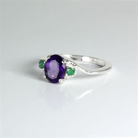 amethyst emerald sterling silver ring