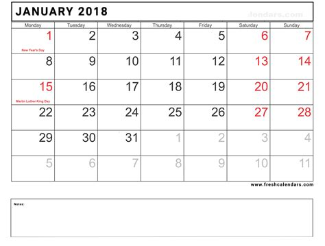 Blank January 2018 Calendar Printable Templates Blank Calendar Template 2018