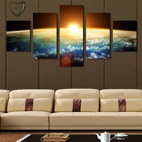home interior wall decor 5 piece no frame hot sell sunrise modern home wall decor