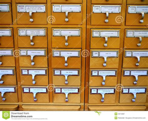 library card catalog cabinet card catalog cabinet in academic library stock image