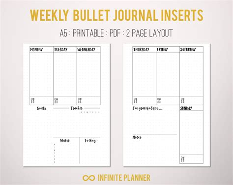 facility layout journal pdf a5 weekly layout on 2 pages bullet journal printable