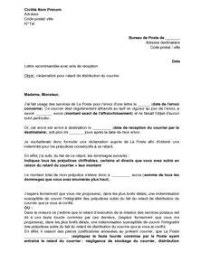 Lettre De Motivation Pour La Banque Postale exemple gratuit de lettre r 233 clamation 224 poste retard distribution courrier