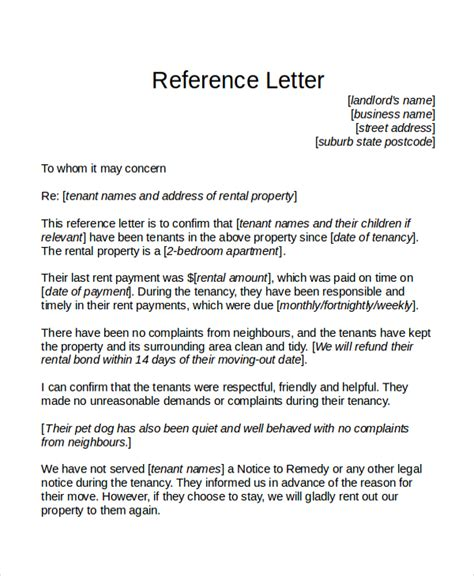 reference letter from landlord template tenant reference letter template business
