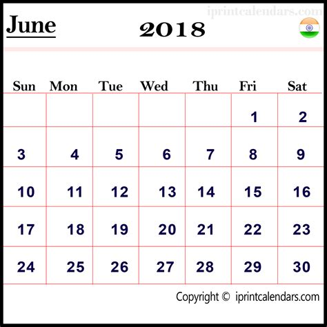 june 2018 calendar india templates tools