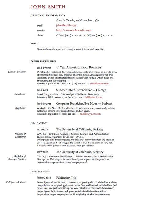 Latex Templates 187 Curricula Vitae R 233 Sum 233 S Template Academic Cv