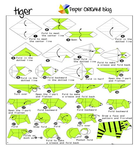 Origami Tiger Diagram - animals origami a tiger paper origami guide
