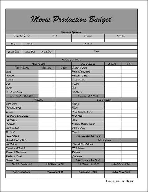 Free Fancy Wide Row Movie Production Budget Form From Formville Production Budget Template