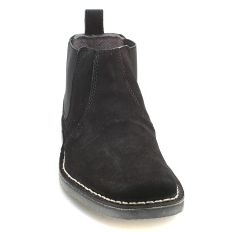 mens suede gusset black suede ankle chelsea boots ebay