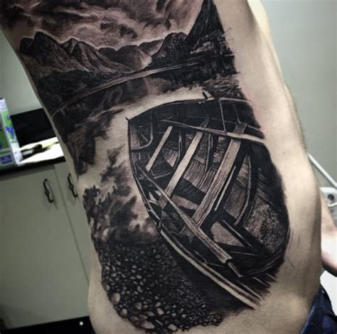 wooden rowboat nature scene best tattoo design ideas