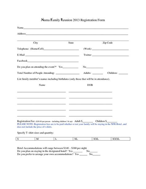 family reunion registration form template best 25 registration form ideas on form