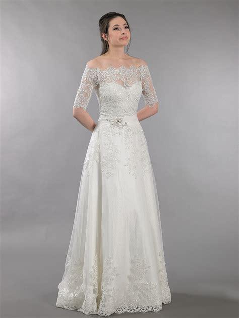 ivory strapless dot wedding dress with off shoulder