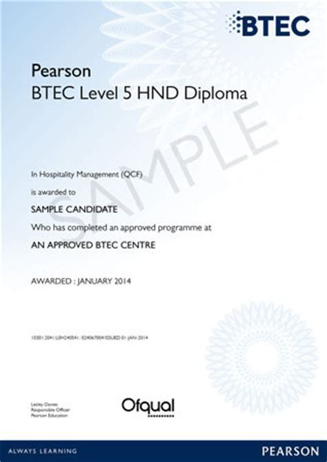 hnd certificate template pearson education uk beacon international college