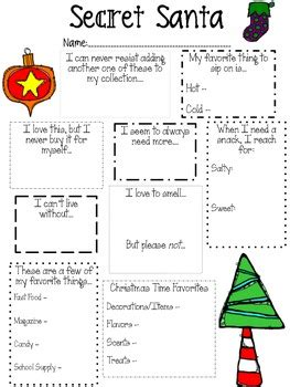 secret santa template form secret santa questionnaire for teachers by o neal