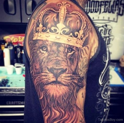 lion tattoo half sleeve crown tattoos designs pictures page 8