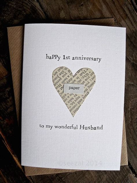st anniversary keepsake card husband wife paper