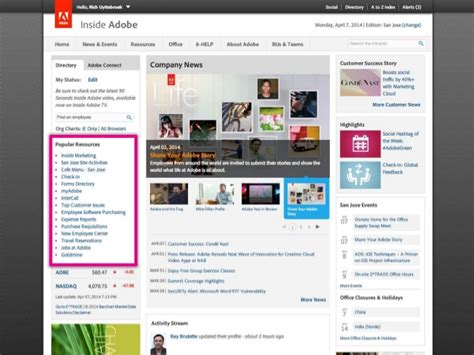 homepage layout exles 31 intranet homepage design exles with screenshots