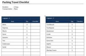 travel packing checklist template packing travel checklist template free microsoft word