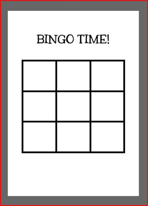 3x3 Printable Card Template by Activity Templates Printcutcraft