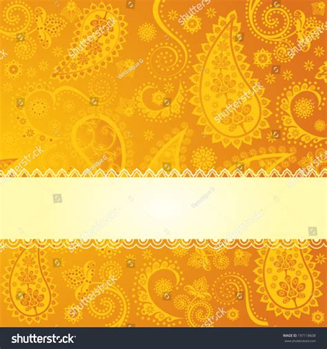 Yellow Indian Pattern Background | yellow indian paisley pattern background with space for