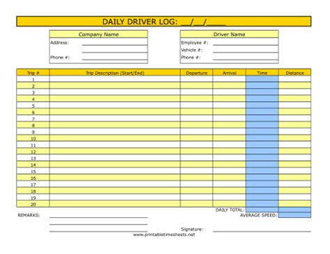 Printable Driver Timesheets | driver timesheet printable time sheet