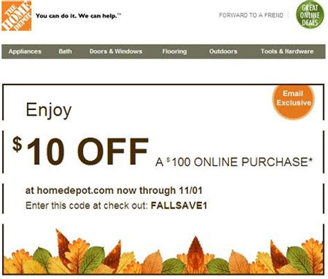 home depot coupon october coupon codes