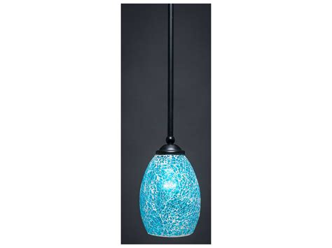 Turquoise Pendant Lighting Toltec Lighting Zilo Matte Black Turquoise Fusion Glass Mini Pendant 560 Mb 5055