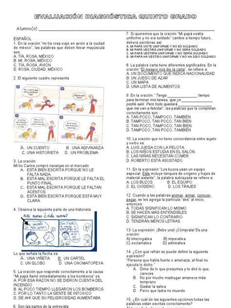 cuestionarios de lenguaje 4 y 5 grado docscom evaluaci 243 n diagn 243 stica quinto grado