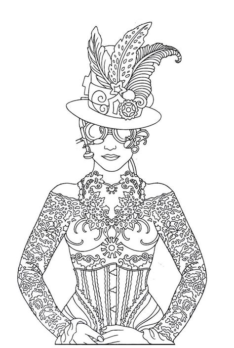 steampunk printable coloring book page easy  medium difficulty coloring  printable