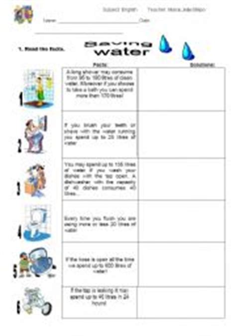 Save Water Worksheets For Kindergarten by Esl Worksheets For Adults Saving Water