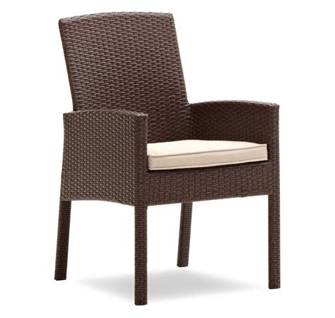 Outdoor Dining Chairs Strathwood Griffen All Weather Wicker Dining Arm Chair Brown Set Of 2