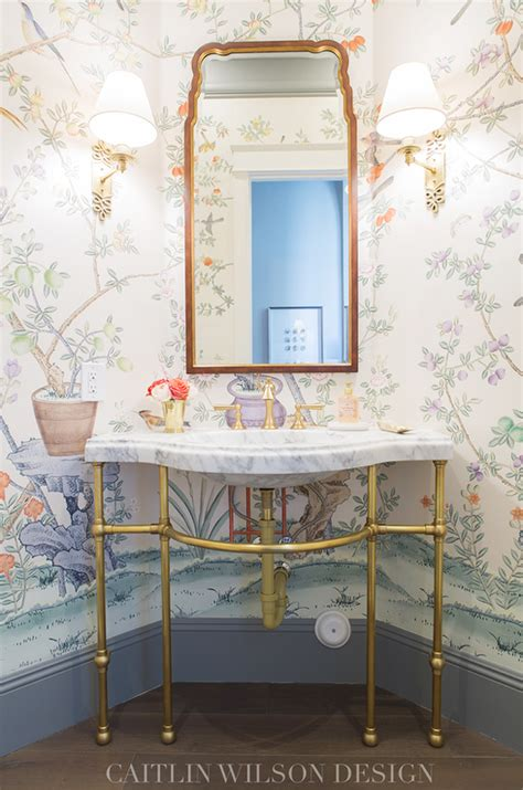 Attractive Small Powder Room Decor #10: De-gournay-ardinieres-citrus-trees-wallpaper.png
