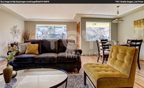 cool living room brown sofa yellow chair decosee