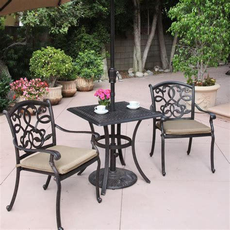 Cast Aluminum Patio Furniture Sets Shop Darlee 3 Santa Cushioned Cast Aluminum Patio Bistro Set At Lowes