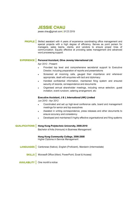 Personal Assistant CV   CTgoodjobs powered by Career Times