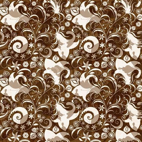 brown pattern vector seamless brown white floral pattern stock vector colourbox