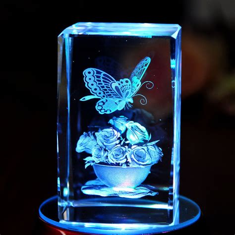 3d crystal light base 3d laser etched crystal paperweight butterfly flowers