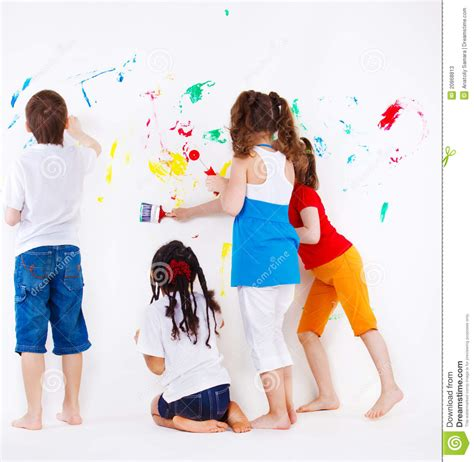 Kids Painting Wall Stock Image Image Of Paint Kids 20868813 Children Painting Images
