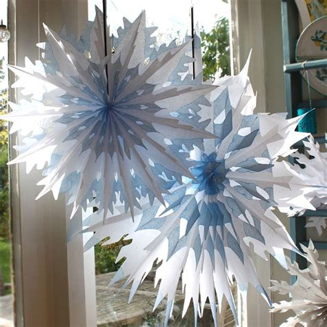 large outdoor snowflake decorations large cool blue white dip dyed tissue paper honeycomb