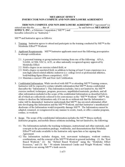 non disclosure and non compete agreement template non compete agreement template 5 free templates in pdf