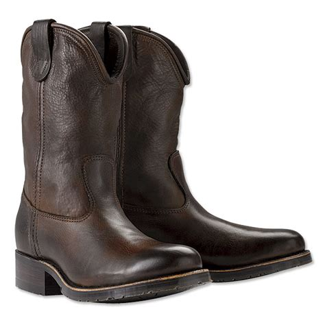 leather cowboy roper boots hh brown tanned roper