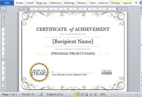 microsoft powerpoint certificate templates certificate of achievement template for word 2013