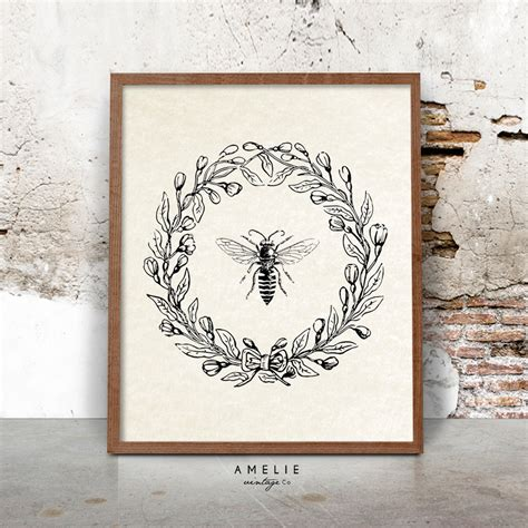 printable rustic art bee print farmhouse printable french country decor rustic