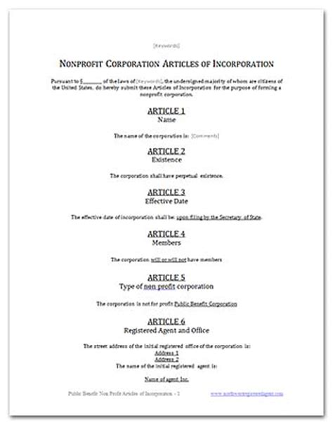 Free California Public Benefit Nonprofit Articles Of Incorporation Llc Articles Of Organization Template