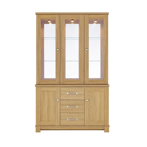 glass door cabinet with drawers large oak display cabinet with glass doors and drawers of