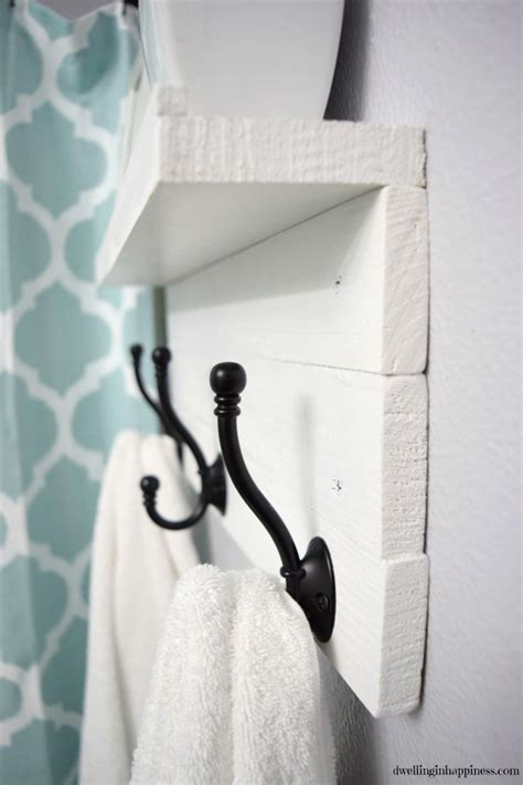 diy towel rack with a shelf furnishings