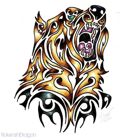 bear paw tribal tattoo grizzly tribal by rokenshidragon on deviantart