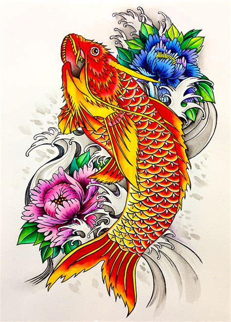 koi fish tattoo flash design on sva portfolios