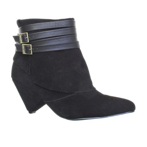 womens designer firetrap pixie mid heel shogun black suede