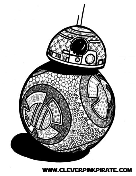 star wars bb 8 coloring pages free printable star wars bb 8 coloring page clever pink